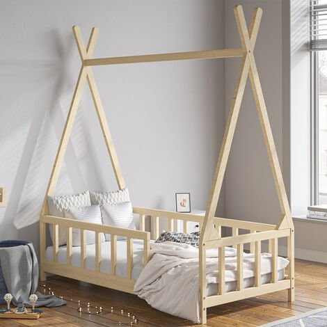 Kids Bed Single House Frame Children Toddler Solid Wood Pine Bedroom Boys Girls Bedstead