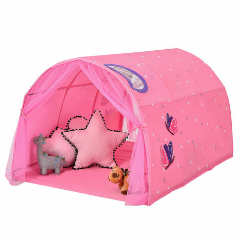 """main image of """"Kids Bed Tunnel Tent Portable Pop Up Playhouse w/ Mosquito Net Carrying Bag Pink"""""""