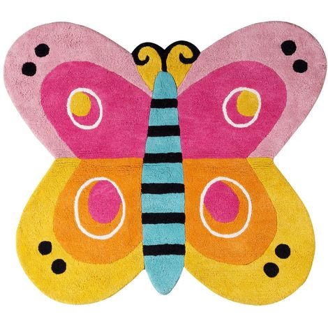 Kids butterfly rug,100% cotton,hand tufted