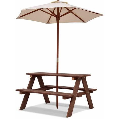 """main image of """"Kids Children Garden Picnic Table Bench Umbrella Parasol Set Outdoor Garden"""""""
