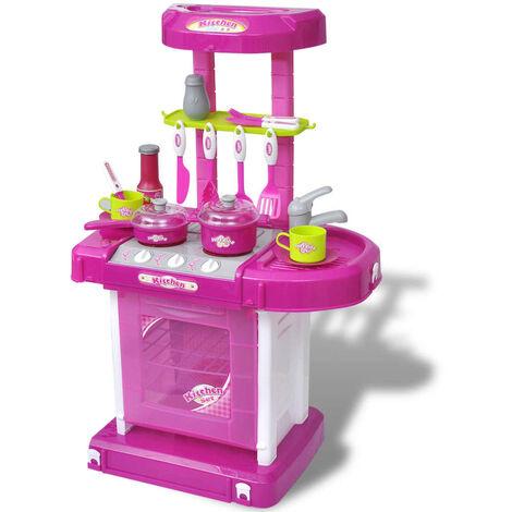 Kids/Children Playroom Toy Kitchen with Light/Sound Effects Pink - Pink