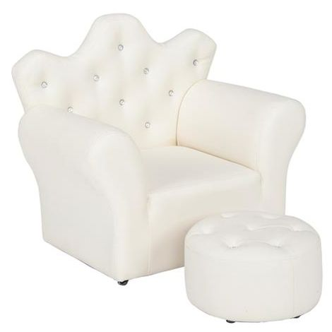 Kids Children Sofa Seat Armchair Lounger Couch Furniture with Footstool - Different colours