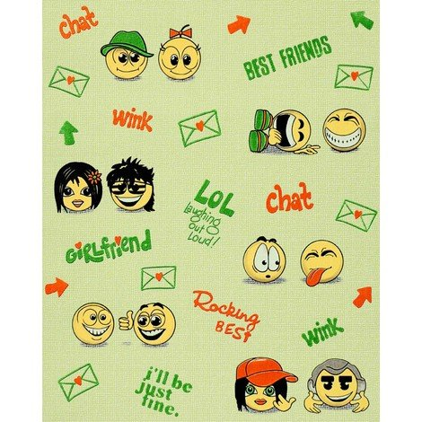 Kids childrens wallpaper wall EDEM 037-25 Fun Manga Anime Chat Smiley beige-green yellow green 5.33 sqm (57 sq ft)