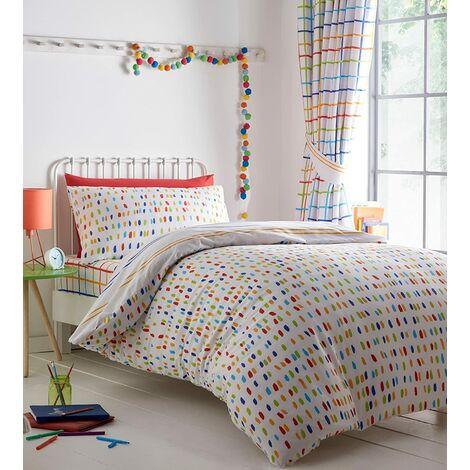 Kids Club Doodle Colourful Duvet Cover Set Double Reversible Bedding Bed Set