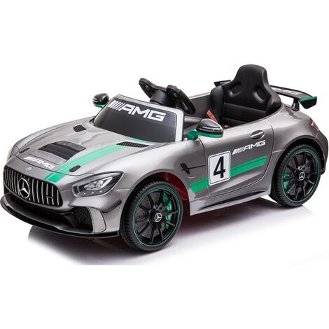 Kids Electric Ride On Car Mercedes GT4 AMG Silver Gloss