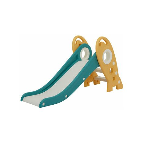 """main image of """"Kids Foldable Rocket Slide Outdoor Indoor Children's Slide - White and Grey - White and Grey"""""""