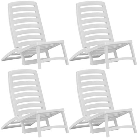 Kids' Folding Beach Chair 4 pcs Plastic White