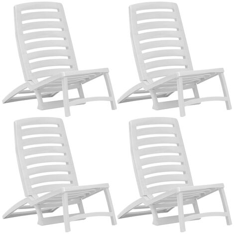 Kids' Folding Beach Chair 4 pcs Plastic White - White