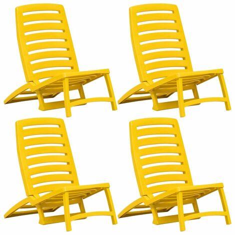 Kids' Folding Beach Chair 4 pcs Plastic Yellow - Yellow