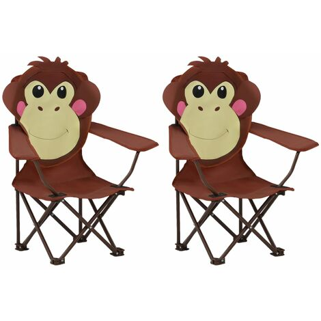 Kids' Garden Chairs 2 pcs Brown Fabric