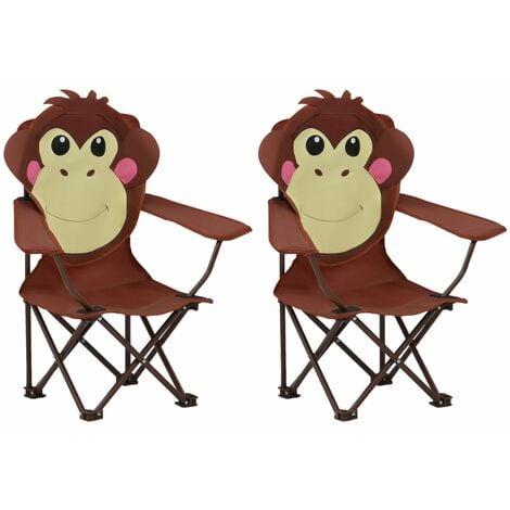 Kids' Garden Chairs 2 pcs Brown Fabric - Brown