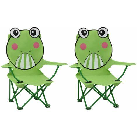 Kids' Garden Chairs 2 pcs Green Fabric