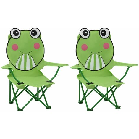 Kids' Garden Chairs 2 pcs Green Fabric