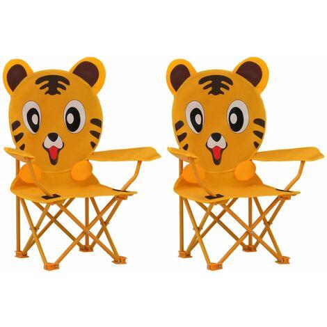 Kids' Garden Chairs 2 pcs Yellow Fabric