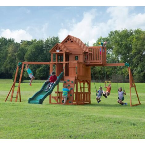 Kids Garden Playhouse Outdoor Children Slide Large Swing Set Wooden Tree House