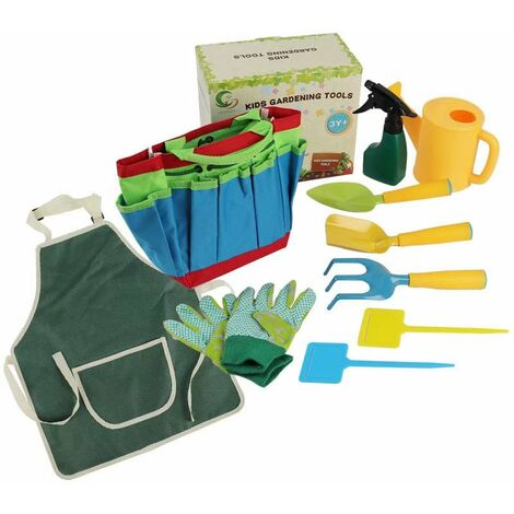 Kids garden tools Outdoor play set and carry bag including watering can, shovel, rake and fork, gardening tools for kids, gardening gloves, watering can, tabpers and tote bag -all (set of ten pieces)