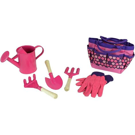 Kids Gardening Tool Set with Gloves Shovel Rake Tote Bag Garden and Outdoor Accessories Learning Toys All in One Kit Pink 1Set