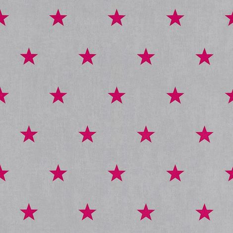 Kids Girls All Over Star Design Grey Pink Wallpaper Children's Bedroom Teens