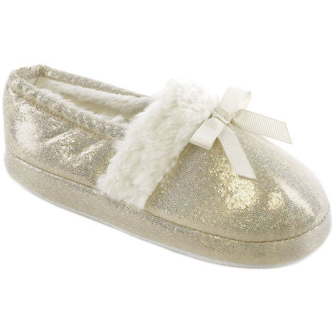 Kids Girls SlumberzzZ Sparkle Design Elasticated Heel Faux Fur Lined Slippers