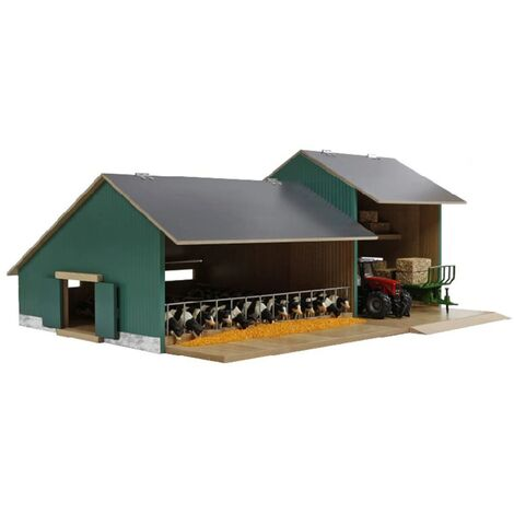 Kids Globe Cow Stable with Shed 1:32 - Multicolour