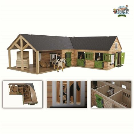 Kids Globe Horse Stable 1:24 Grey - Multicolour
