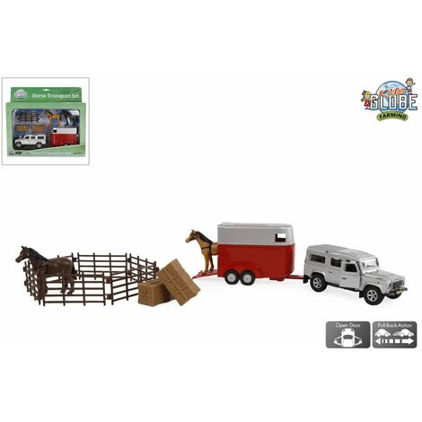 """main image of """"Kids Globe Land Rover with Horse Trailer and Accessories Pull Back 26 cm - Multicolour"""""""