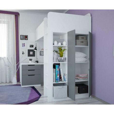 "main image of ""Kids High Sleeper Loft Bed - Grey"""