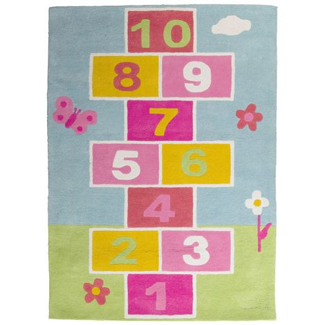 Kids hopscotch rug,100% cotton,hand tufted