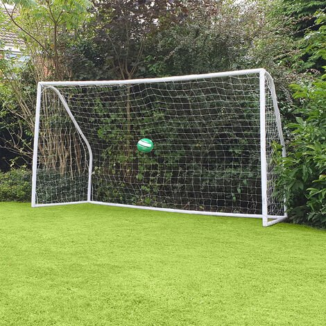 Kids Junior 10Ft X6Ft Portable White Football Goal Inc Net Clips & Ground Pegs