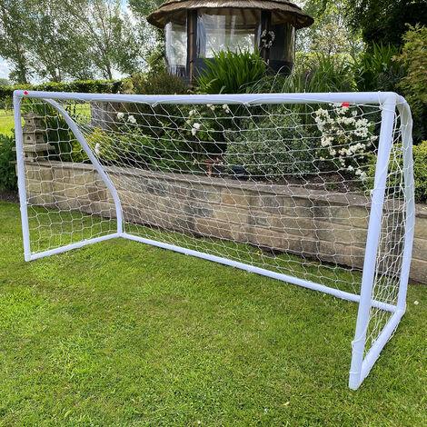 Kids Junior 8Ft X4Ft Portable White Football Goal Inc Net Clips & Ground Pegs