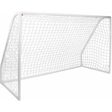 Kids Junior Portable White Football Goal Inc Net Clips & Ground Pegs