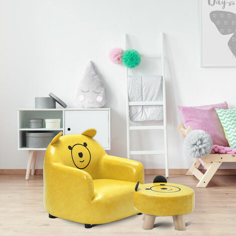 Kids Mini Sofa Children Girl Boys Chair Seat Armchair Couch w/ Footstool Bedroom