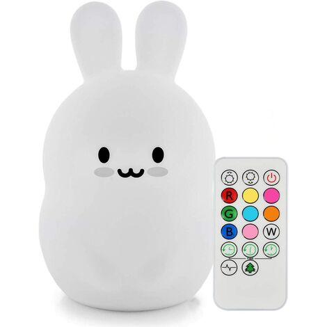 """main image of """"Kids Night Light Miffy Rabbit Lamp Soft Silicone Bedside Lamp 9 Colors Rechargeable Remote Control LED Night Light for Gift / Office / Bedroom / Living Room / Outdoor"""""""