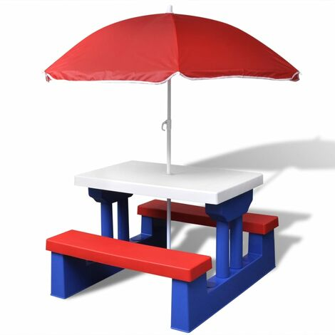 Kids' Picnic Table with Benches and Parasol Multicolour