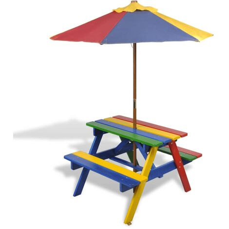 Kids' Picnic Table with Benches and Parasol Multicolour Wood - Multicolour