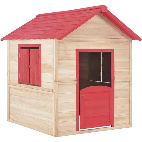 Kids Play House Fir Wood Red
