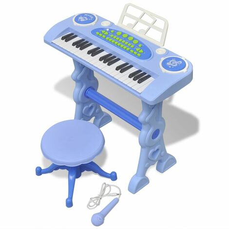 Kids' Playroom Toy Keyboard with Stool/Microphone 37-key Blue VDTD31801