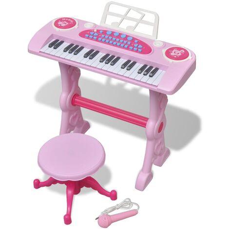 Kids' Playroom Toy Keyboard with Stool/Microphone 37-key Pink
