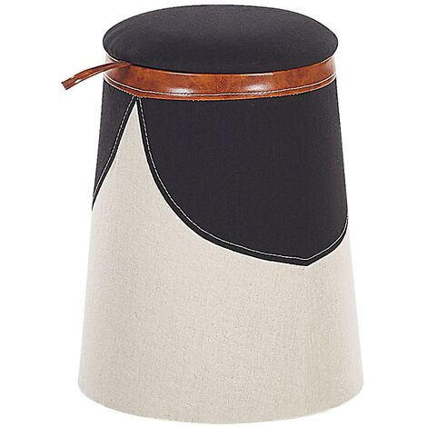 Kids Pouffe Footstool Faux Linen Upholstered with Storage Beige Apache