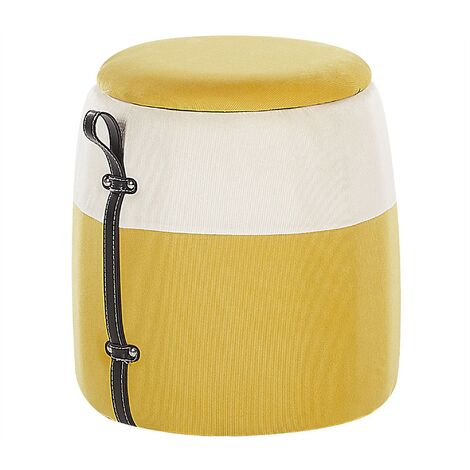 Kids Pouffe Footstool with Storage Children's Bedroom Yellow Ruby