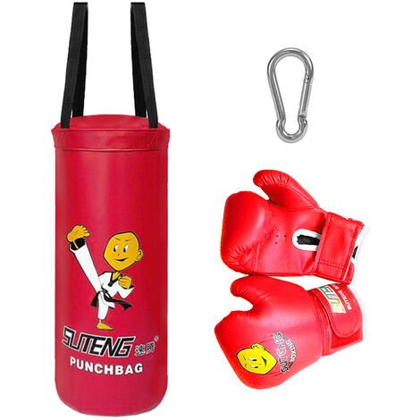 """main image of """"Kids Punch Bag and Gloves Boxing Hanging Punch Bag with Gloves Kick Boxing Bag and Training Gloves Youth Muay Thai Punching Bag Mitts Age 3 to 12 Years Old"""""""