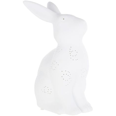 Kids Rabbit Night Light, Ceramic, White