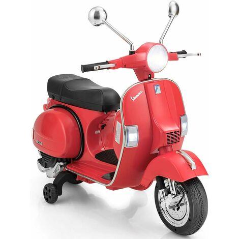 Kids Ride On Motorcycle Vespa Licensed 6V Electric Ride on Car Music LED Lights