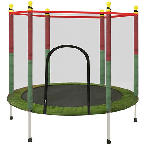 Kids Round Trampoline Exercise Jumping Safety Pad Enclosure Indoor W/ Net 55inch