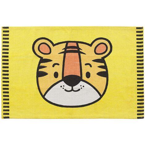 Kids Rug Tiger Print 60 x 90 cm Yellow RANCHI