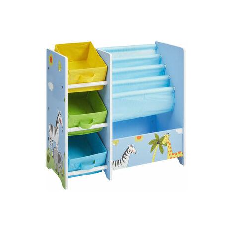Kids Safari Book Display Unit with 3 Fabric Storage Boxes - Blue