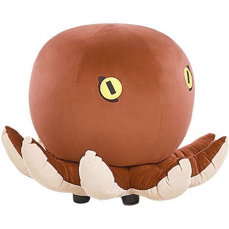 "main image of ""Kids Sea Animal Stool Velvet Children's Pouffe Playroom Brown Octopus"""