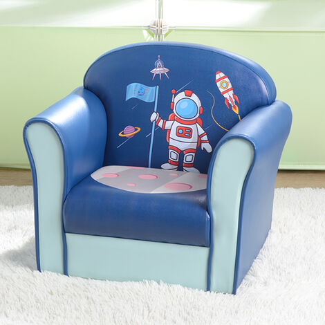 """main image of """"Kids Single Sofa, Mini Children Astronaut Pattern Leather Armchair with Wood Frame for Bedroom Playroom Furniture (Blue)"""""""