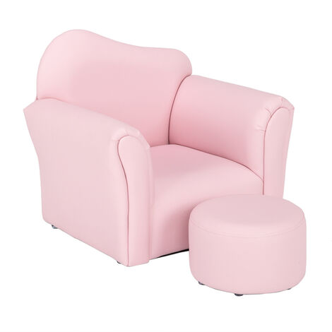 """main image of """"Kids Single Sofa & Pedal Set, Mini Children Leather Armchair with Wood Frame for Bedroom Playroom Furniture (Pink)"""""""