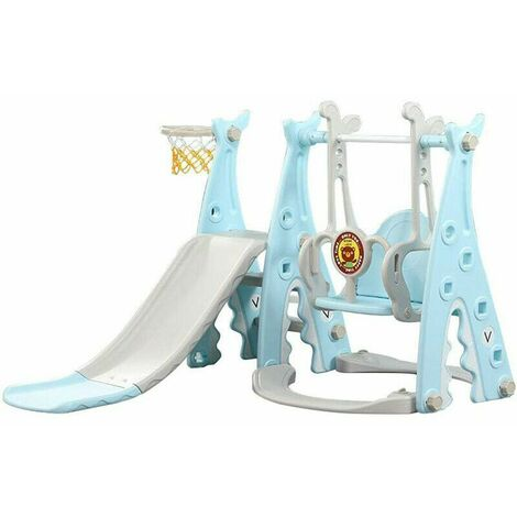 Kids Slide Swing Playground Children Play House Outdoor Garden Toddler Baby Toy Blue